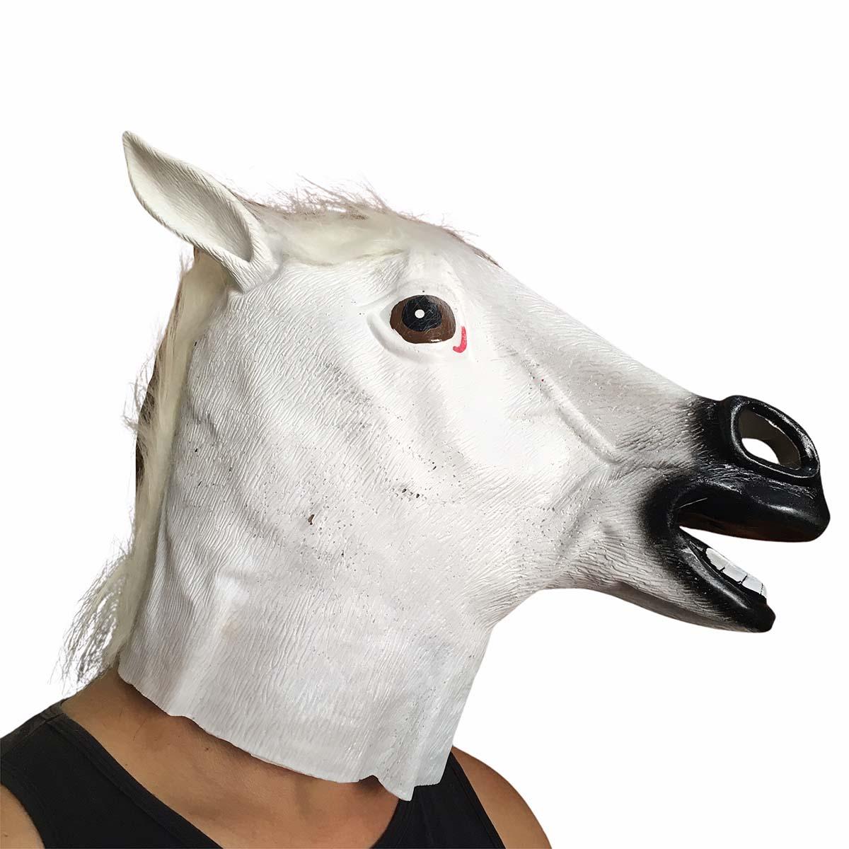 Máscara Cabeça de Cavalo Branca Látex Cosplay