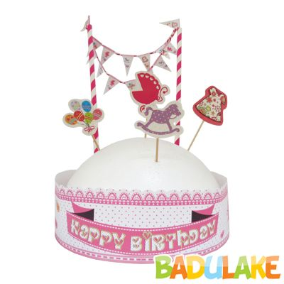 Topo de Bolo Happy Birthday Rosa