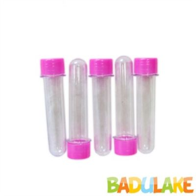 Tubete Transparente 13 cm Tampa Plástica Pink - 10 unidades