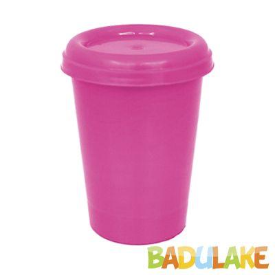 Copo Plástico com Tampa Rosa Chiclete  250 ml