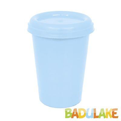 Copo Plástico com Tampa Azul Claro 250 ml