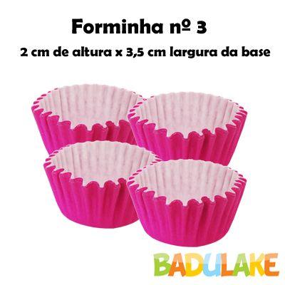 Forminha Lisa de Papel Número 3 Pink - 100 unidades