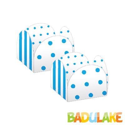 Forminha 4 Pétalas Poá e Listras Branca e Azul - 50 unidades