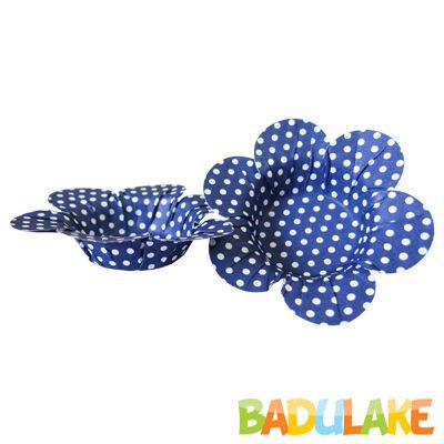 Mini Forminha Flor Scaranelo Azul Escura com Bolinhas Brancas - 50 unidades