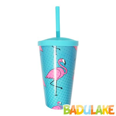 Copo Flamingo 550 ml com Canudo