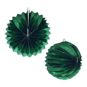 Lanterna Metalizada Verde Escuro Origame