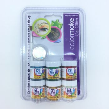 Kit Gel Glitter 15 g + pincel + 1 Sombras 6 Cores