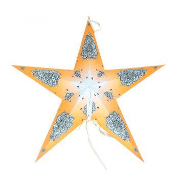 Luminária  Estrela Estampada Média Laranja