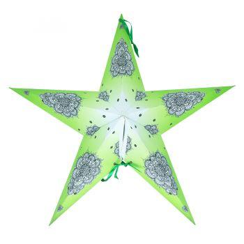 Luminária  Estrela Estampada Média Verde