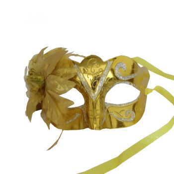 Máscara Metalizada com Flor Dourada