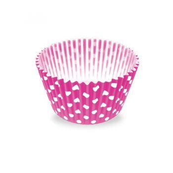 Forminha de Papel Número 5 Poa Pink/Branca - 100 unidades