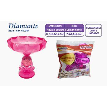 Mini Taça Diamante Rosa - 6 unidades
