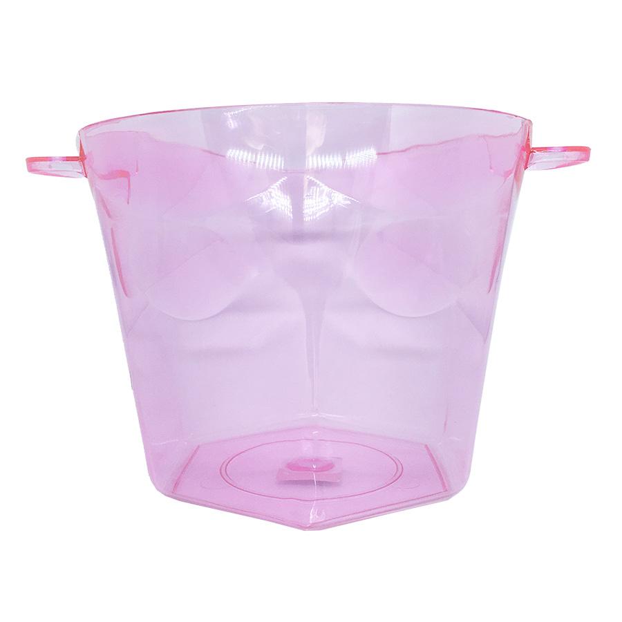 Balde de Gelo Rosa Transparente