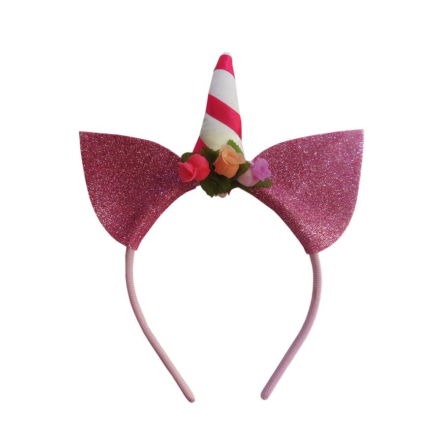Tiara Unicórnio Glitter Pink
