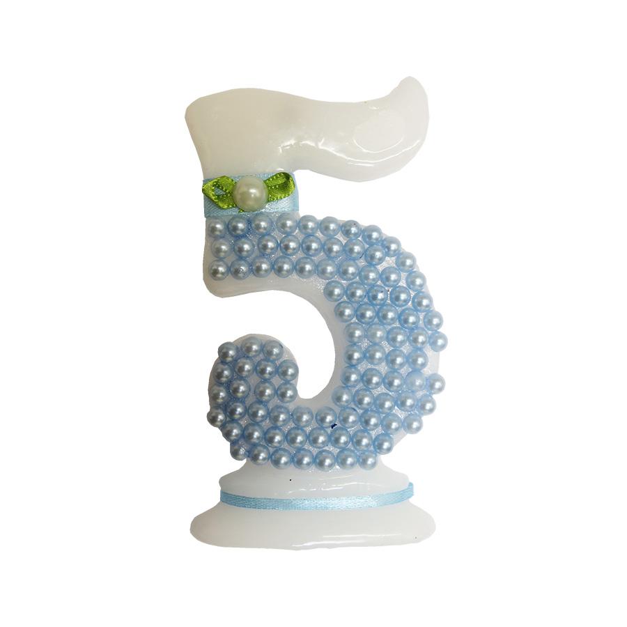Vela Pérola Azul Número 5