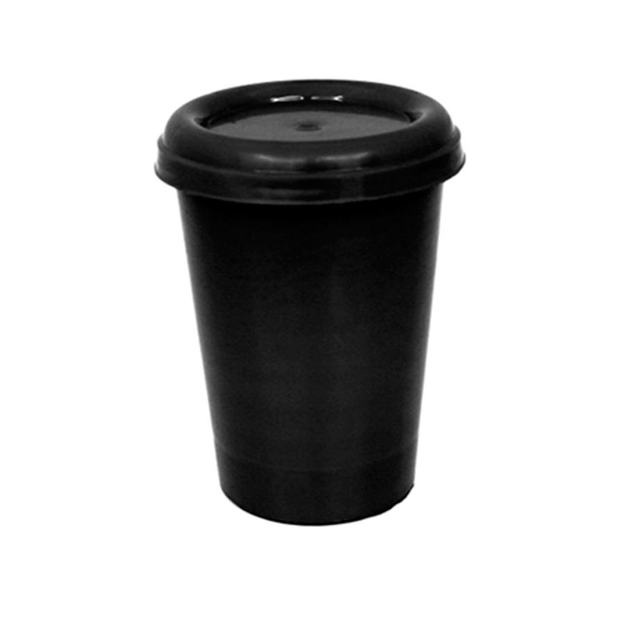 Copo Plástico com Tampa Preto 250 ml