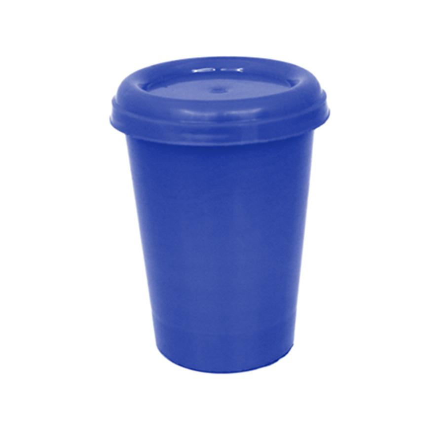 Copo Plástico com Tampa Azul Escuro 250 ml