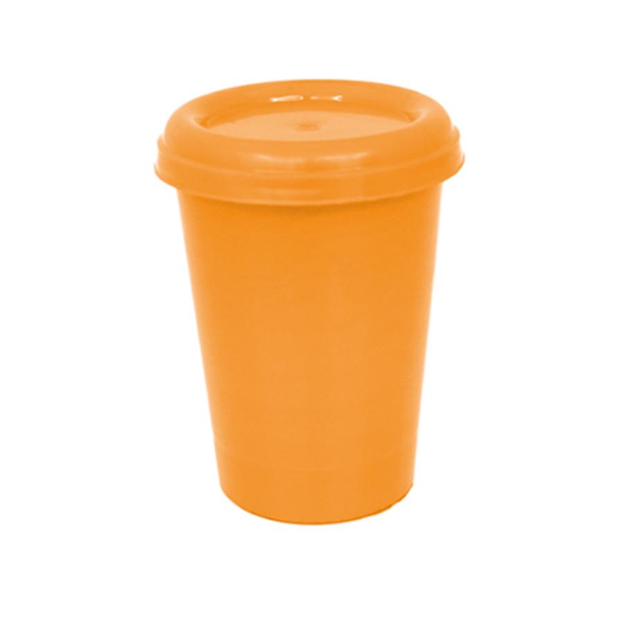 Copo Plástico com Tampa Laranja Flúor 250 ml