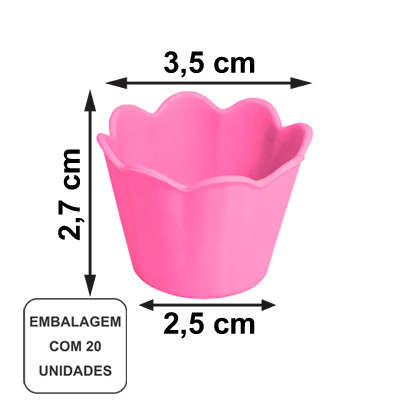 Mini Pote Girassol Rosa - 20 unidades
