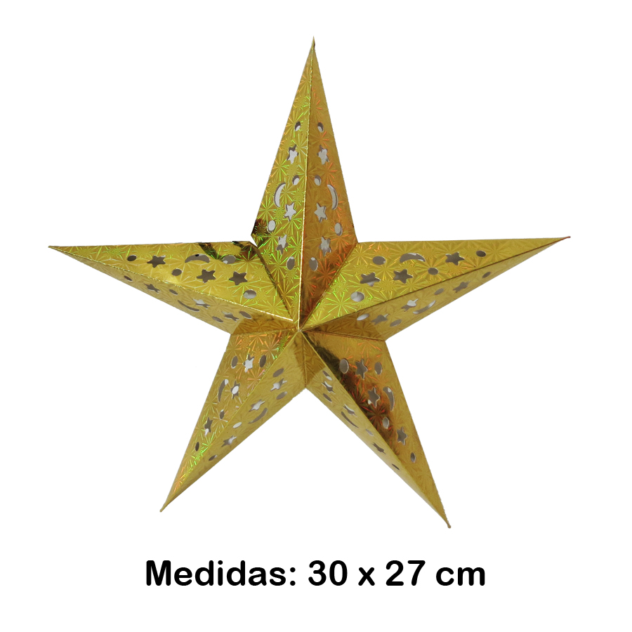 Luminária Estrela Pequena Dourada 30x27 cm