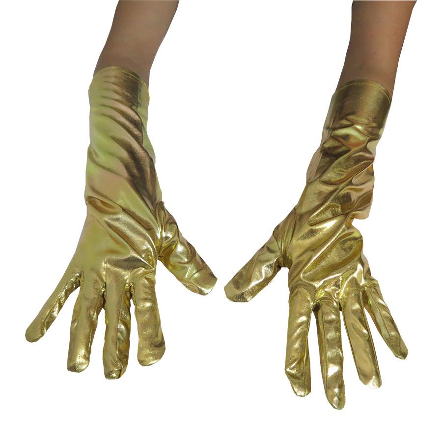 Luva Metalizada Lame 16 Adulto Dourada