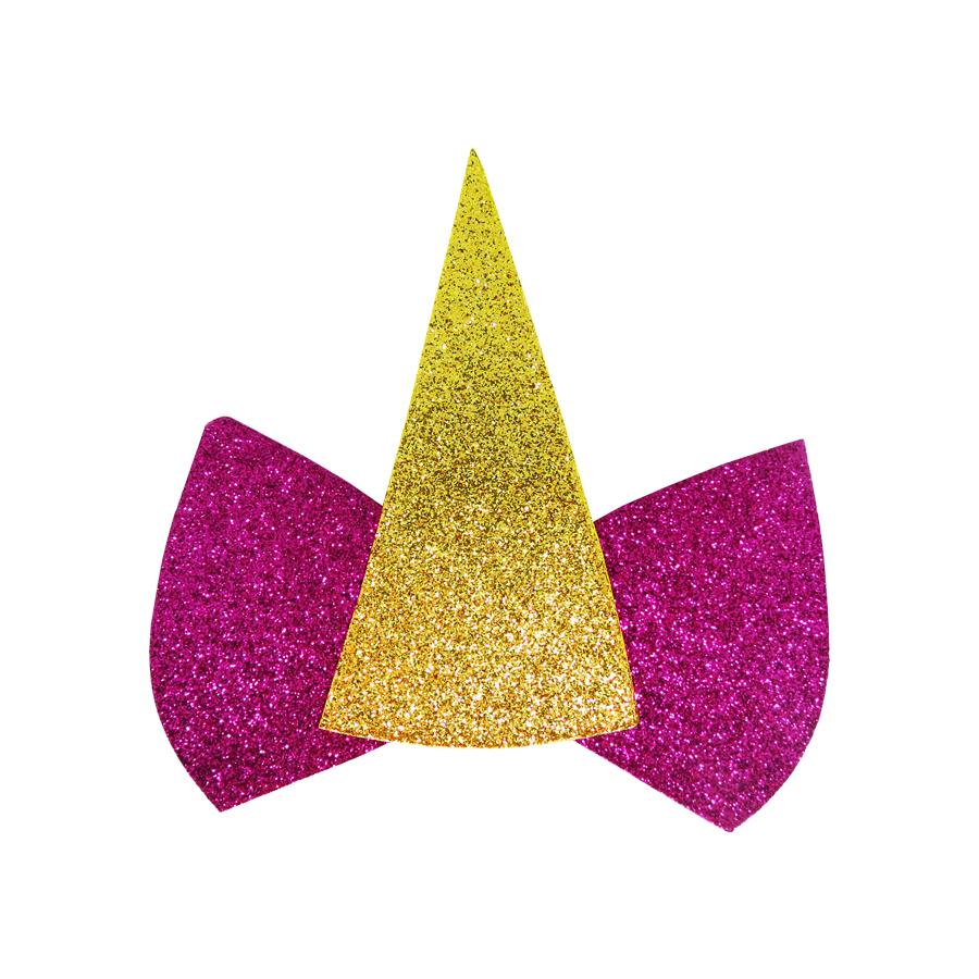 Aplique Unicórnio EVA com Glitter