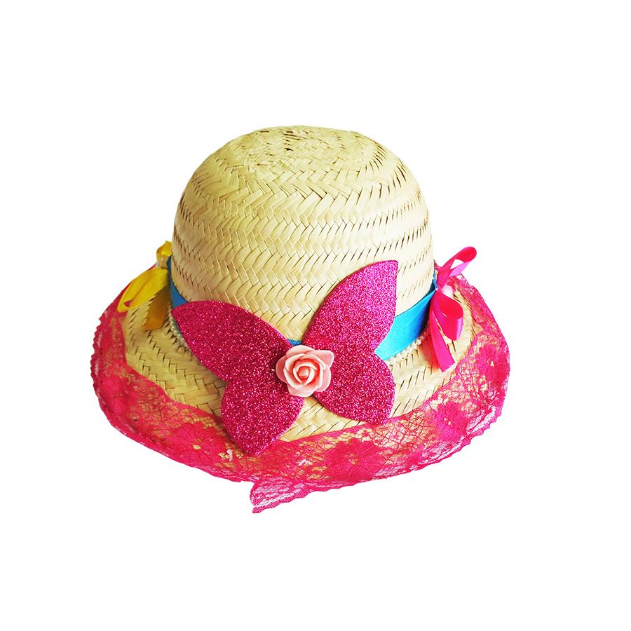 Chapéu de Palha Infantil Decorado