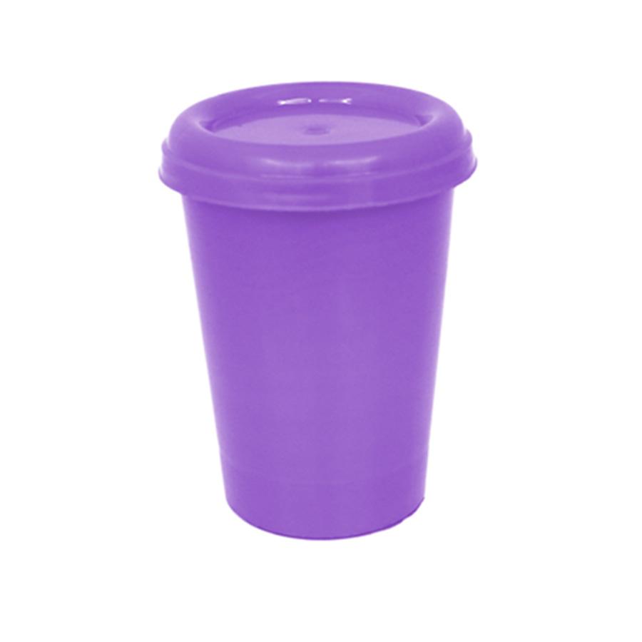 Copo Plástico com Tampa Roxo 250 ml