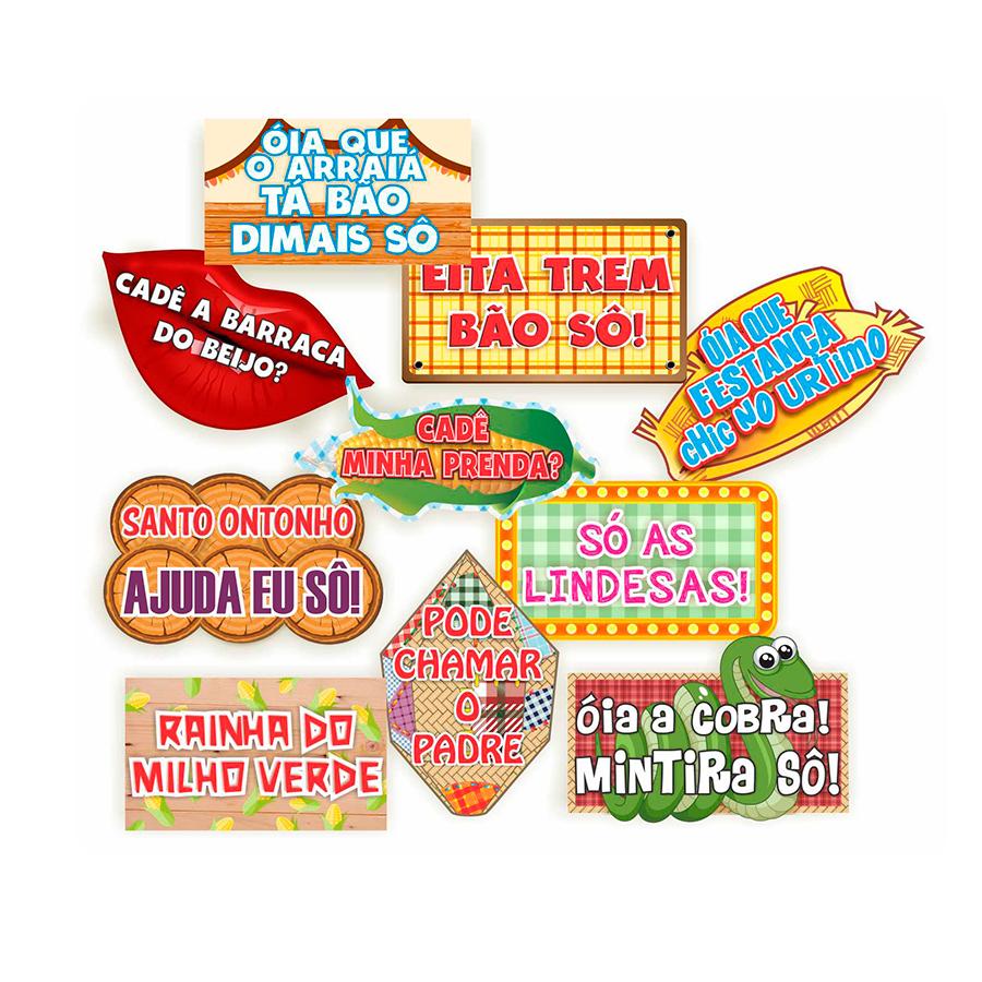 Plaquinhas Festa Junina - 10 unidades