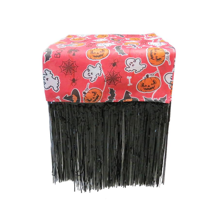 Caminho de Mesa Halloween com Franja Vermelho