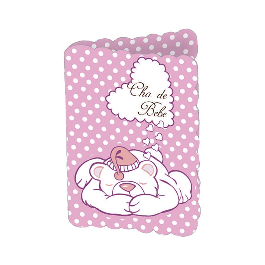 Convite Chá de Bebê Urso Poá Rosa - 8 unidades