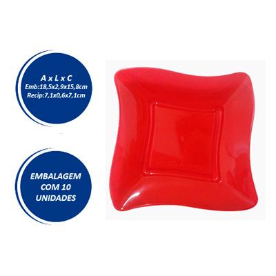 Pratinho Quadrado 7x7 Vermelho - 10 unidades