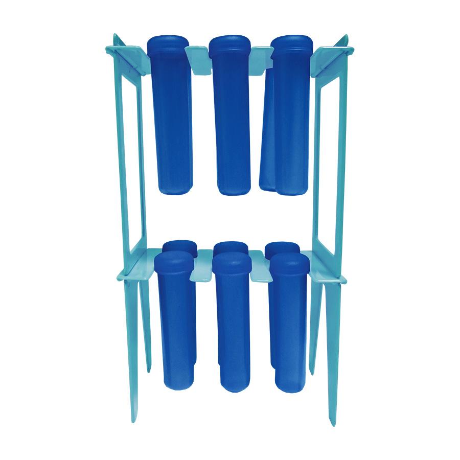 Suporte Pedestal para 12 Tubetes Azul