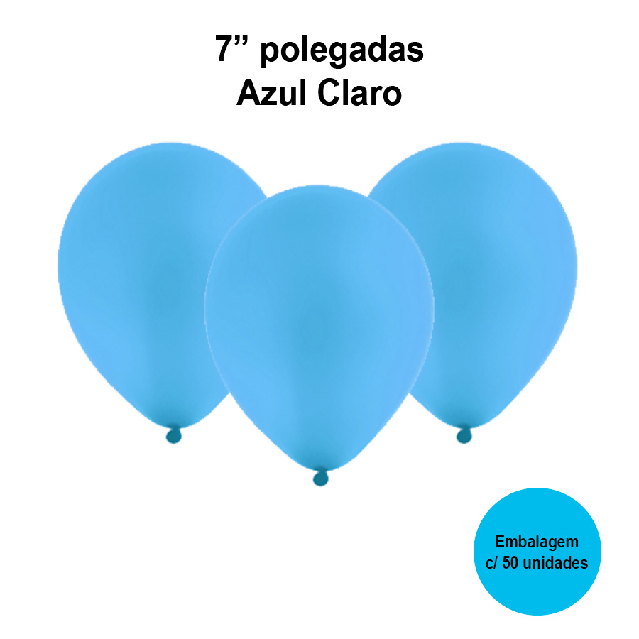 Balão Festball Liso Azul Claro 7'' Polegadas - 50 unidades