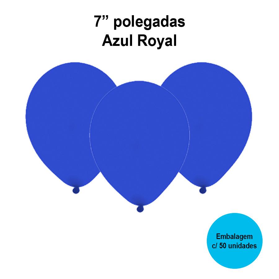 Balão Festball Liso Azul Royal 7'' Polegadas - 50 unidades