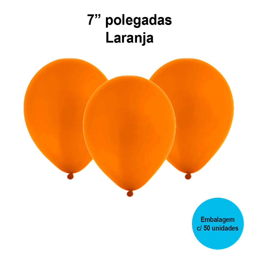 Balão Festball Liso Laranja 7'' Polegadas - 50 unidades