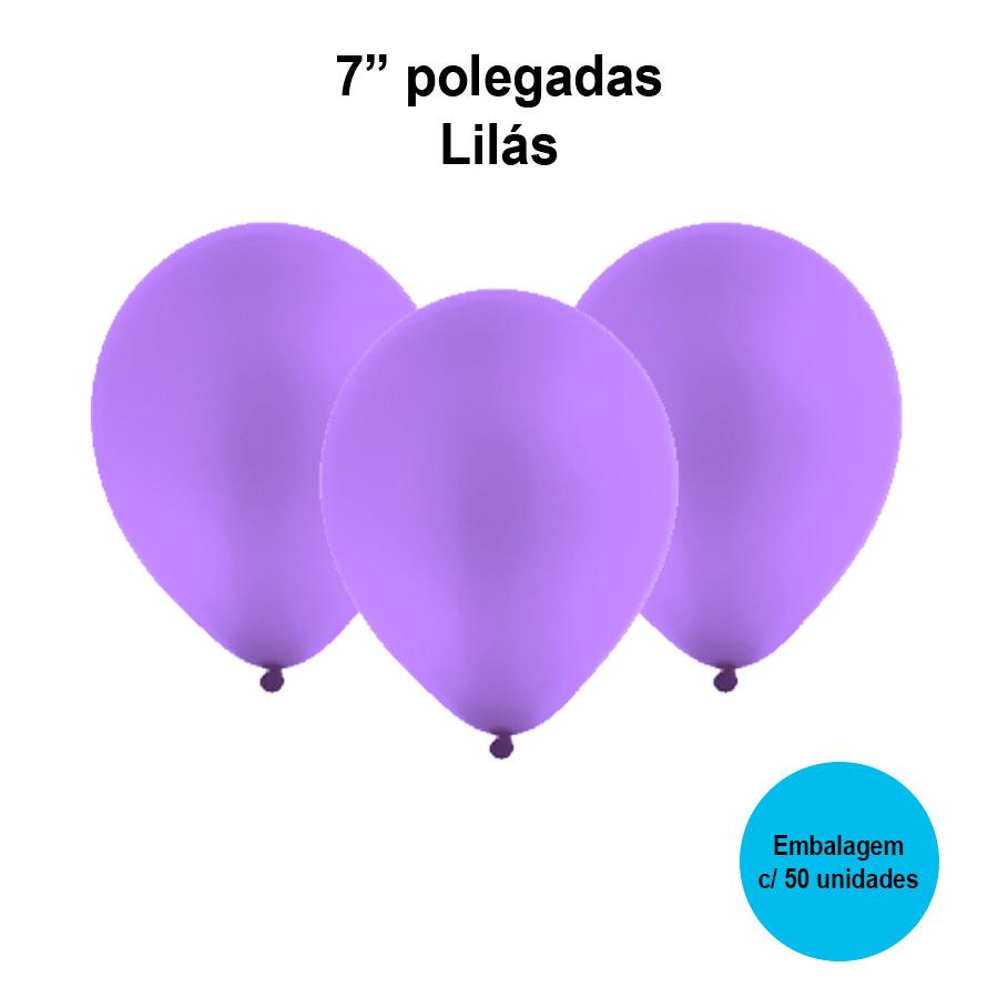 Balão Festball Liso Lilás 7'' Polegadas - 50 unidades