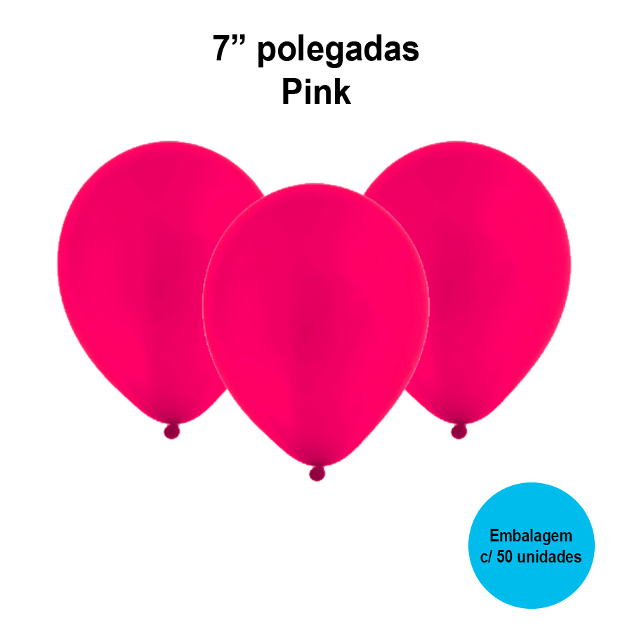 Balão Festball Liso Pink 7'' Polegadas - 50 unidades