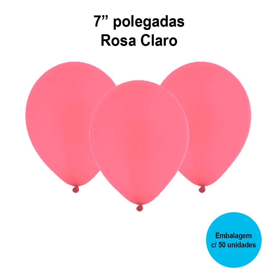 Balão Festball Liso Rosa Claro 7'' Polegadas - 50 unidades