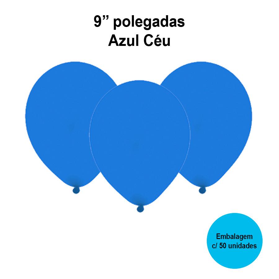 Balão Festball Liso Azul Céu 9'' Polegadas - 50 unidades