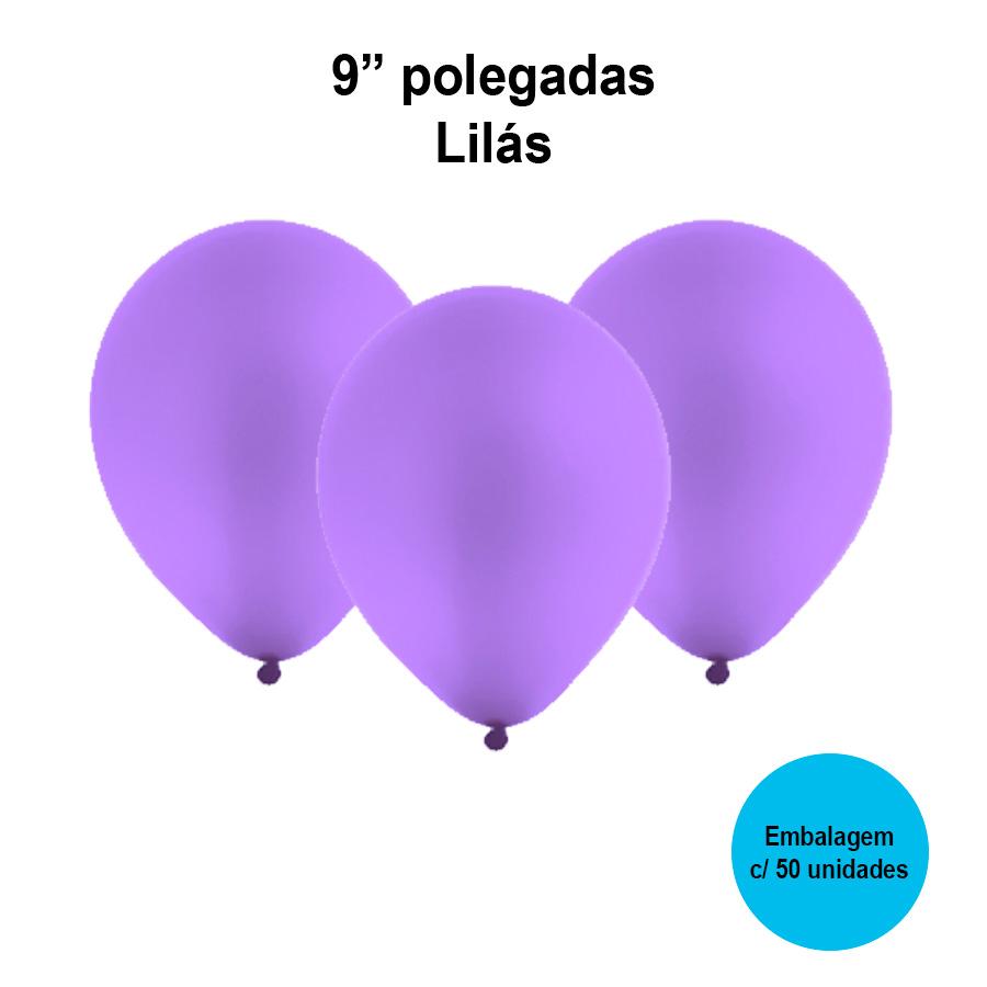 Balão Festball Liso Lilás 9'' Polegadas - 50 unidades