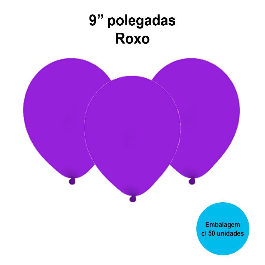 Balão Festball Liso Roxo 9'' Polegadas - 50 unidades
