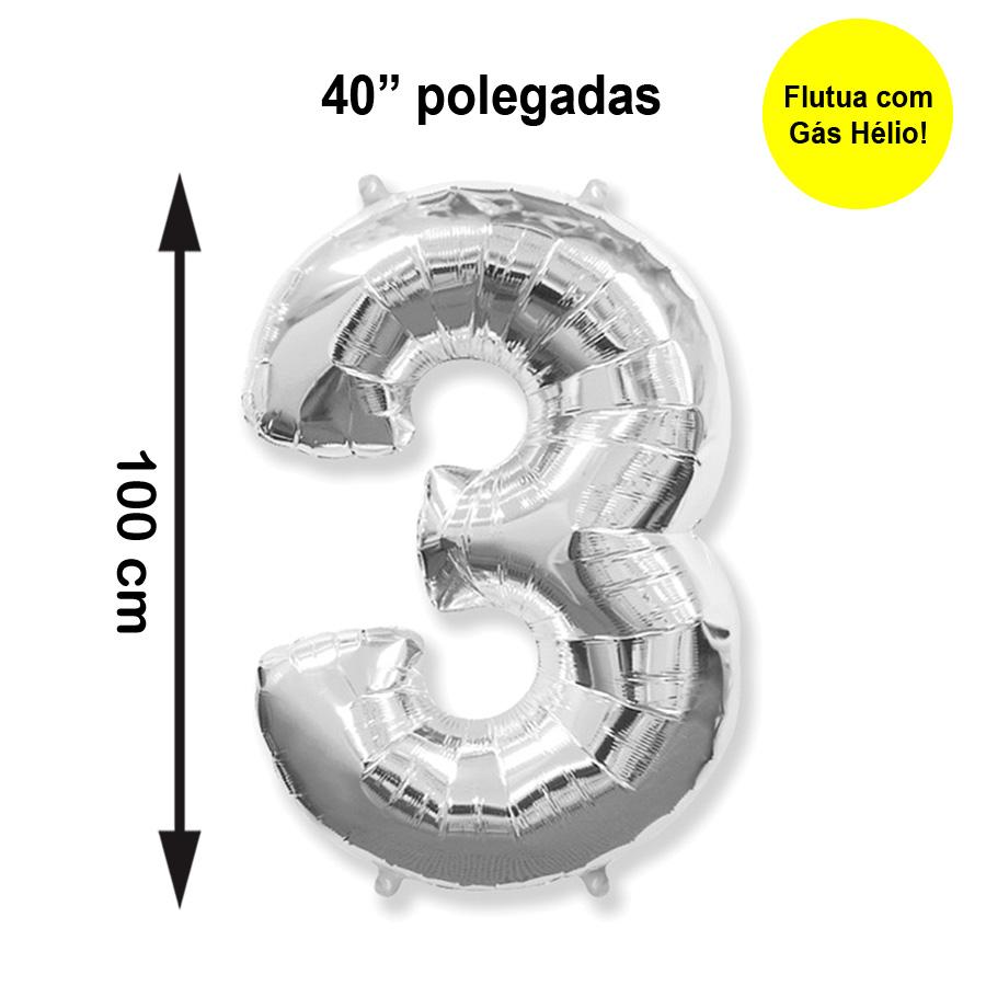 """Balão Metalizado Número 3 Prata 40"""" polegadas"""