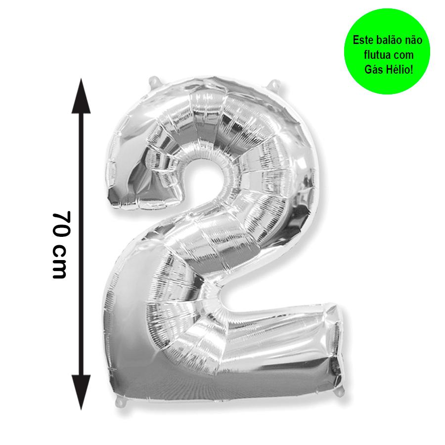 Balão Metalizado Número 2 Prata Médio