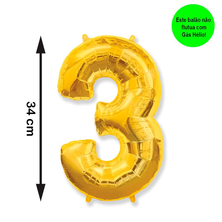 Balão Metalizado Número 3 Dourado Pequeno