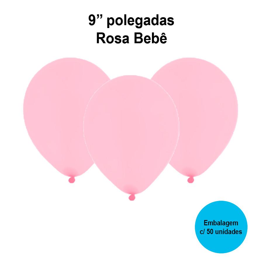 Balão Festball Liso Rosa Bebê 9'' Polegadas - 50 unidades
