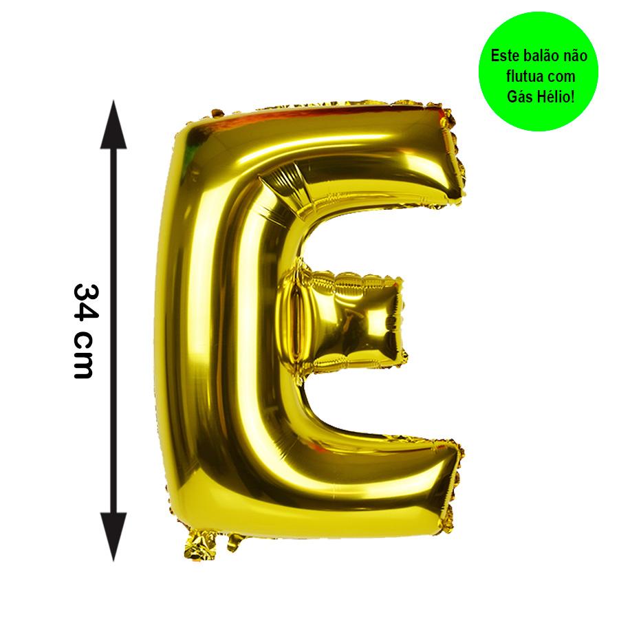Balão Metalizado Letra E Dourada Pequena