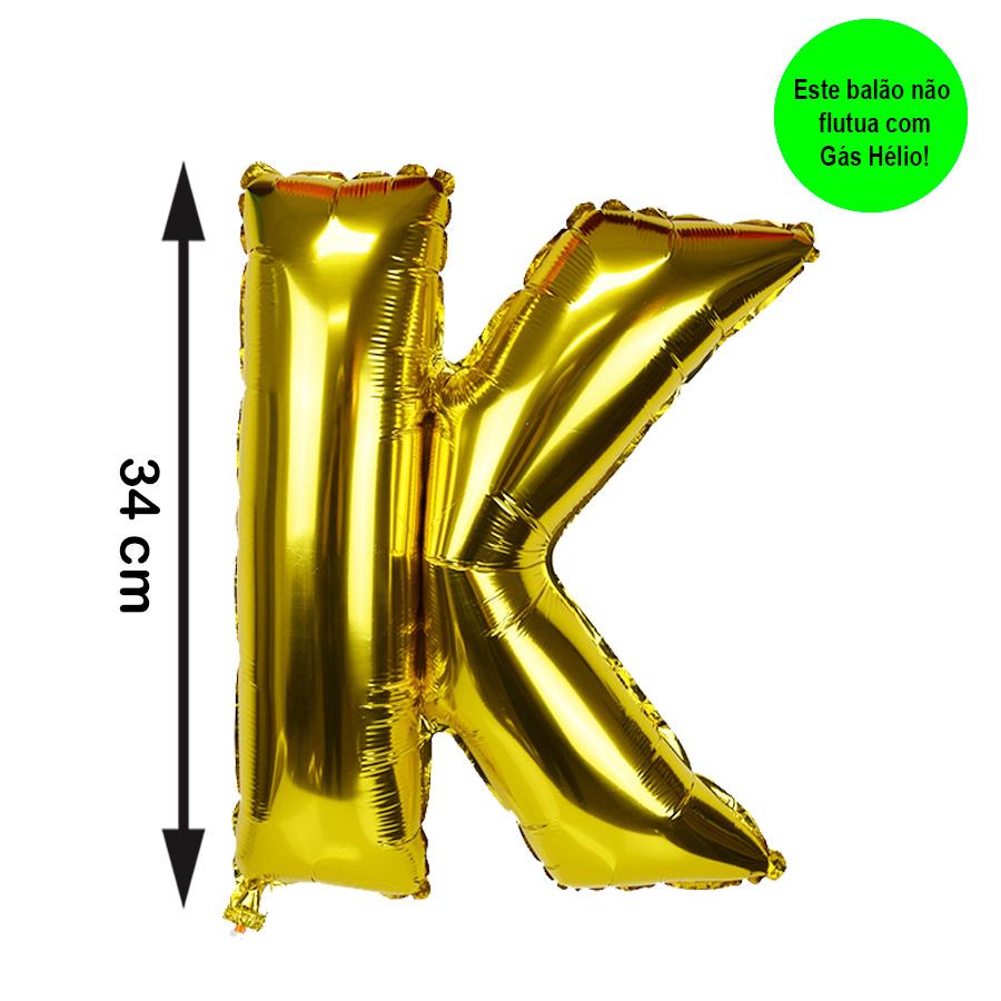Balão Metalizado Letra K Dourada Pequena