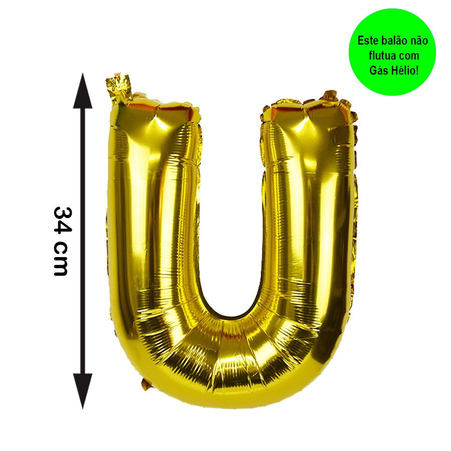 Balão Metalizado Letra U Dourada Pequena