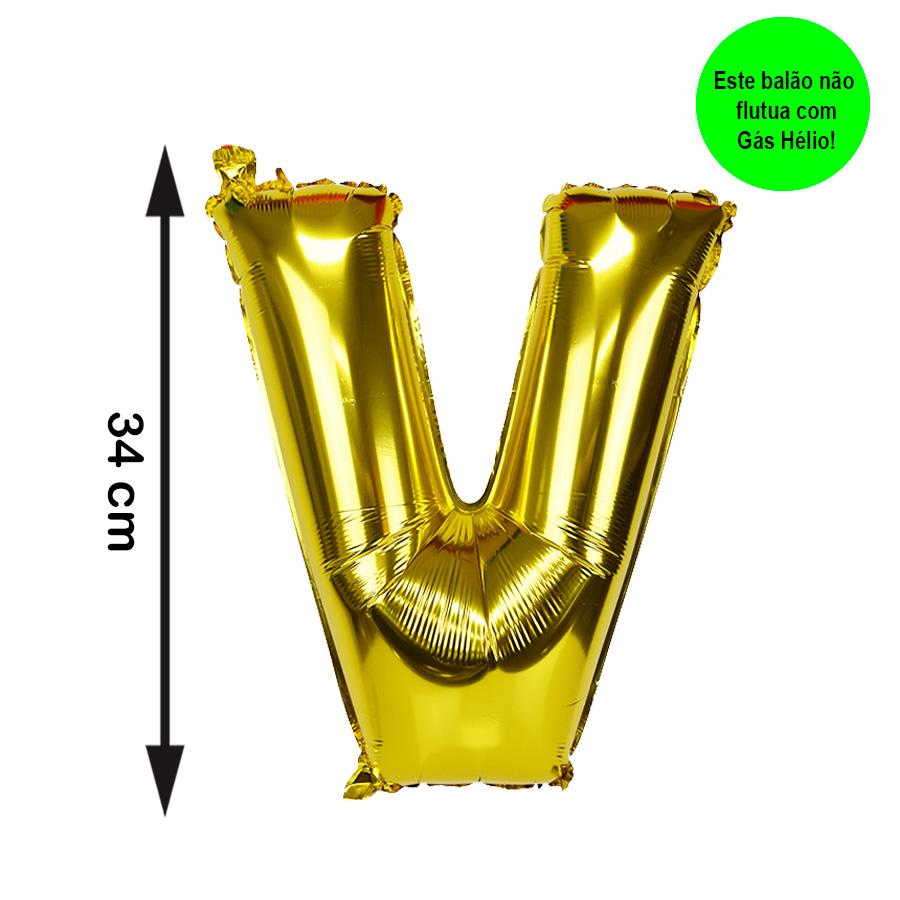 Balão Metalizado Letra V Dourada Pequena